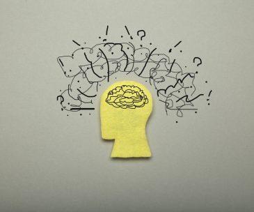 Mental stress, mind pressure. Negative brain overload.