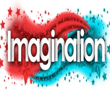 imagination in stars colored background