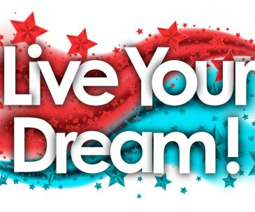 live your Dream words in stars colored background